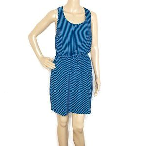 Soprano Teal and Blue Striped Racer Back Dress
